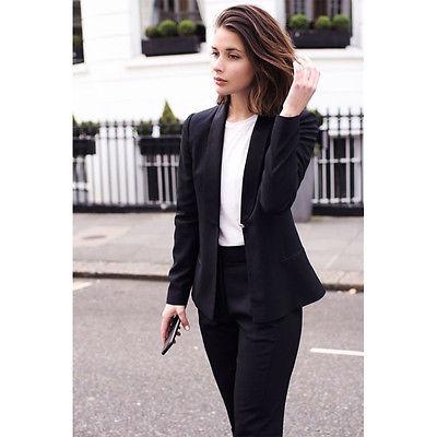 Black Slim Fit Office Uniform Designs Women Business Suit Female .