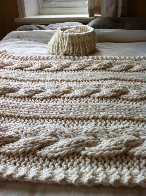 Pattern for Giant Cable Knit Blanket or Throw   Cable knit .