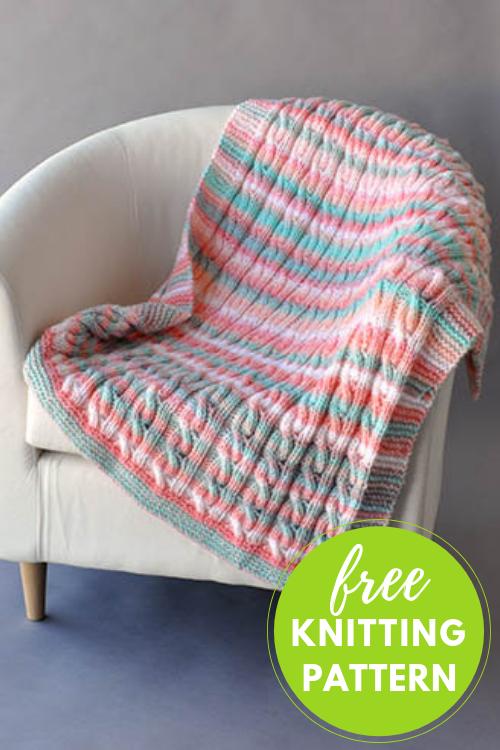 Reversible Cable Blanket Free Knitting Pattern — Blog.NobleKni