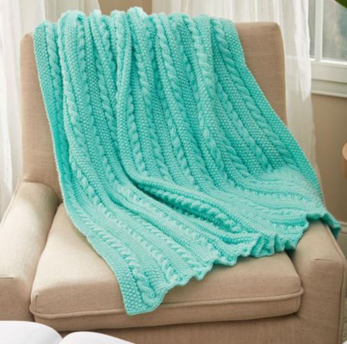 Easy Cable Knit Blanket Pattern   AllFreeKnitting.c
