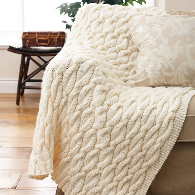 Pretty Cable Knit Throw Blanket   Knitting Thin