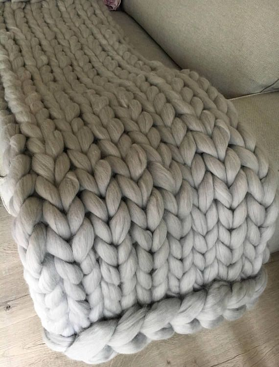 Hand knit blanket Large cable knitted throw Chunky throw bed in .