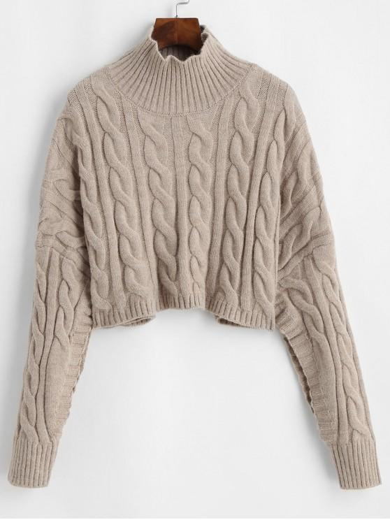 67% OFF] 2020 Oversized Mock Neck Cable Knit Jumper Sweater In TAN .