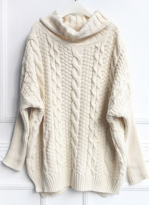 Beige High Neck Loose Cable Knit Sweater - perfect for a movie .