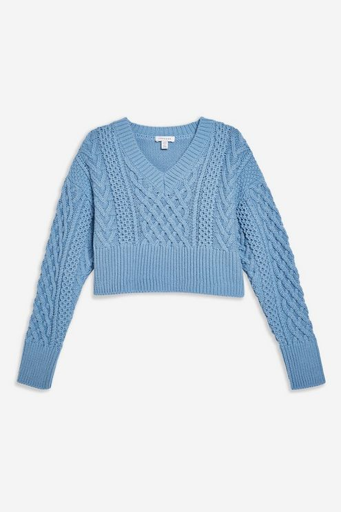 V-Neck Cropped Cable Knit Jumper in 2020 | Cable knit jumper .