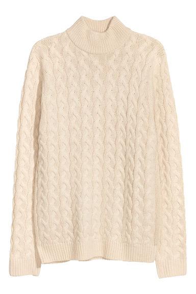 Cable-knit jumper - Light beige - Men | H