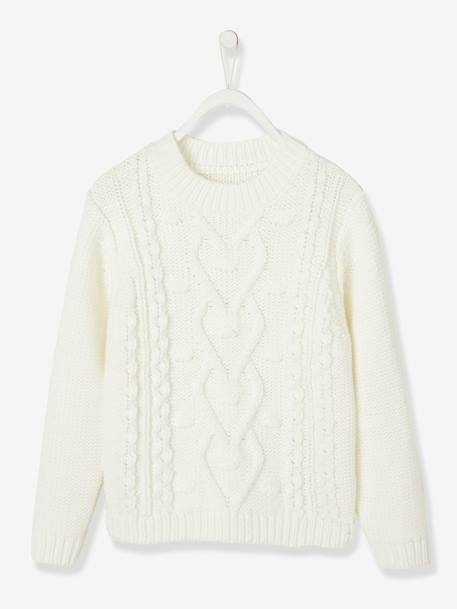Cable Knit Jumper, for Girls - white light solid, Gir