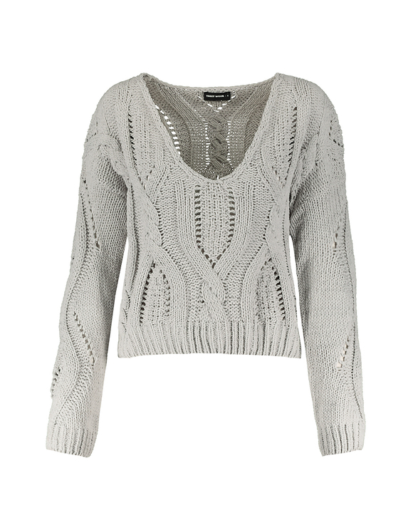 Grey Cable Knit Jumper | TALLY WEiJL Online Sh