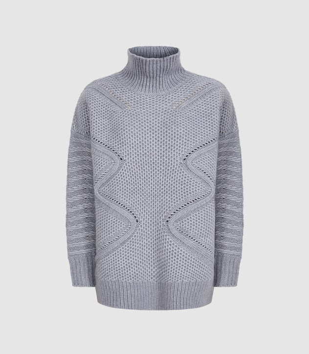 Myla Grey Oversized Cable Knit Jumper – REI
