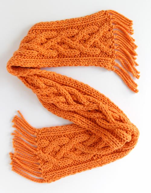 Quad Cable Knit Scarf Pattern | AllFreeKnitting.c