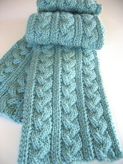 Free knitting pattern for Braided Cable Scarf and more scarf .