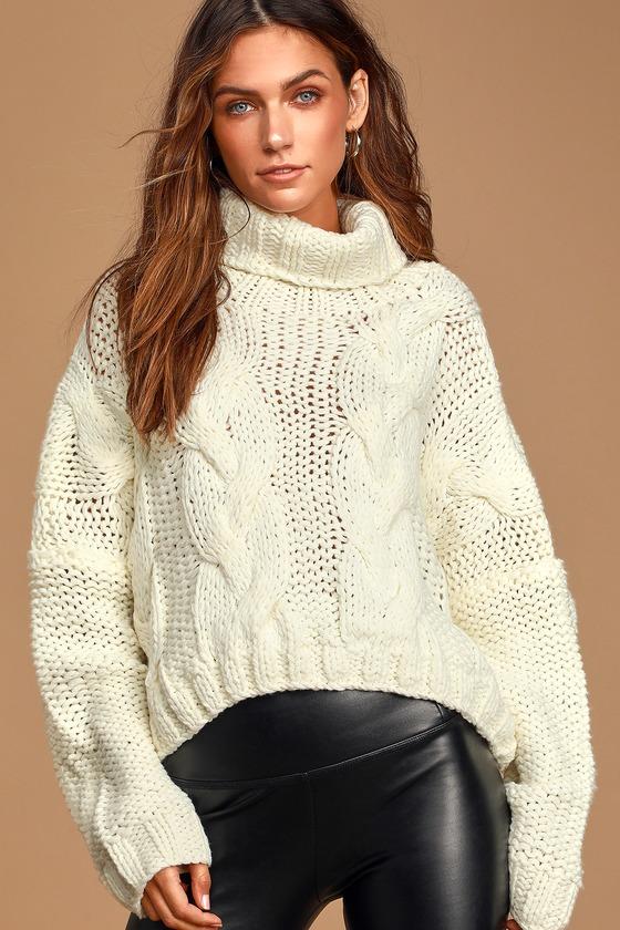 Cute Cream Sweater - Cable Knit Sweater - Turtleneck Sweat