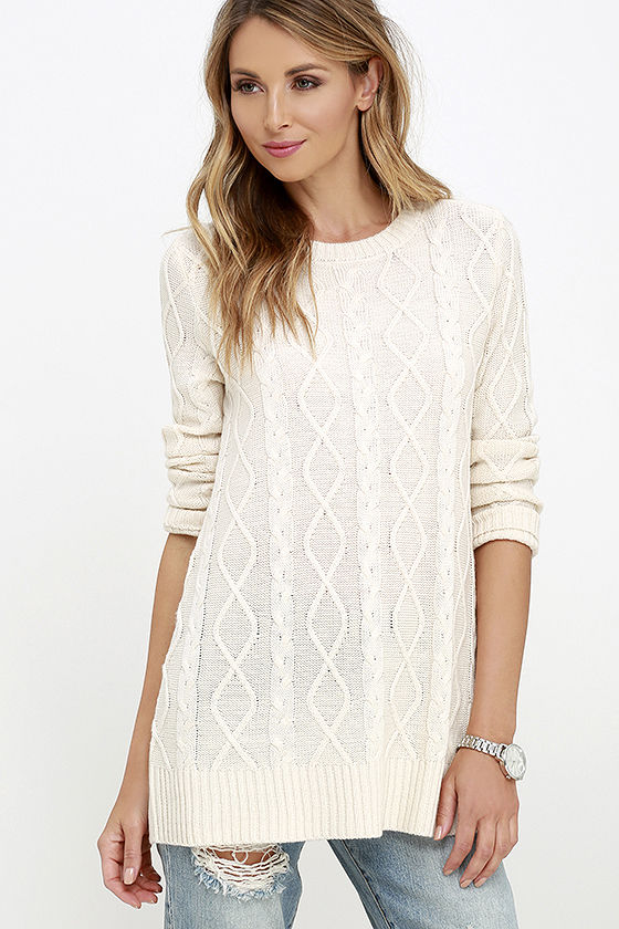 Cable Knit Sweater - Cream Sweater - Long Sleeve Top - $38.