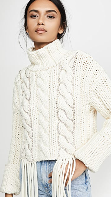 Area Cropped Cable Knit Sweater | SHOPB