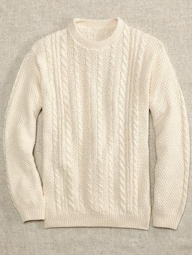 Mens Cotton Crew Neck Cable Knit Sweat