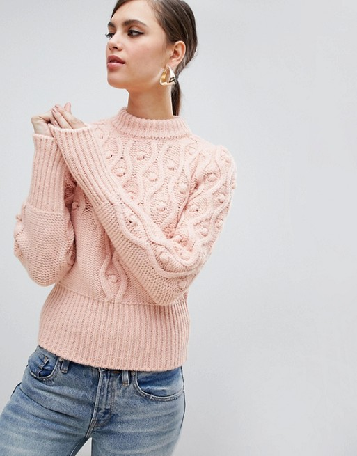 River Island cable knit sweater in pink | AS