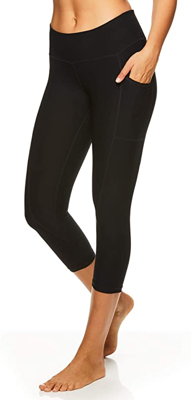 Reebok Women's Printed Capri Leggings With Mid-Rise Waist .