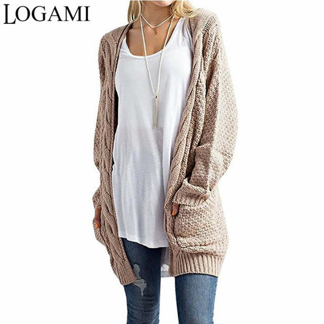LOGAMI Long Cardigan Women Long Sleeve Knitted Sweater Cardigans .