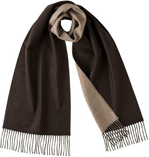 Johnstons Of Elgin Mens 100% Cashmere Reversible Scarves (Brown .