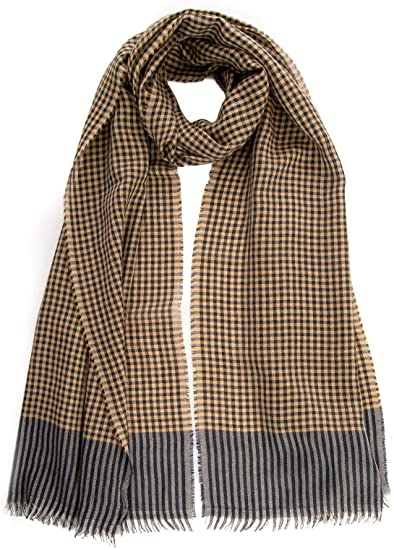 Elizabetta Men's Italian Cashmere Silk Scarf - Yellow Plaid at .