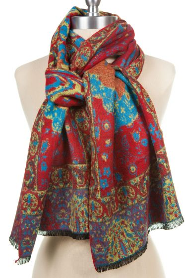 100% Cashmere Scarf by Rapti - Red, Blue, Purple Floral Paisl