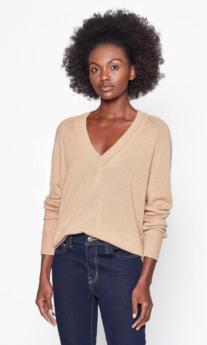 Madalene V-neck Cashmere Sweater in Camel Nude | Equipme
