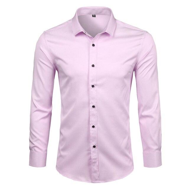 Pink Shirt Men 2018 Elastic Bamboo Fiber Mens Dress Shirts Casual .