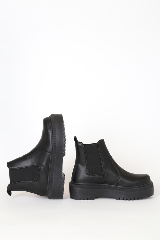 Steve Madden Yardley Ankle Boots - Black Flatform Chelsea Boo