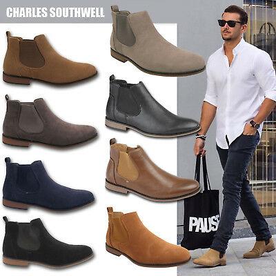Mens Faux Suede Chelsea Boots Designer Smart Casual Desert Dealer .
