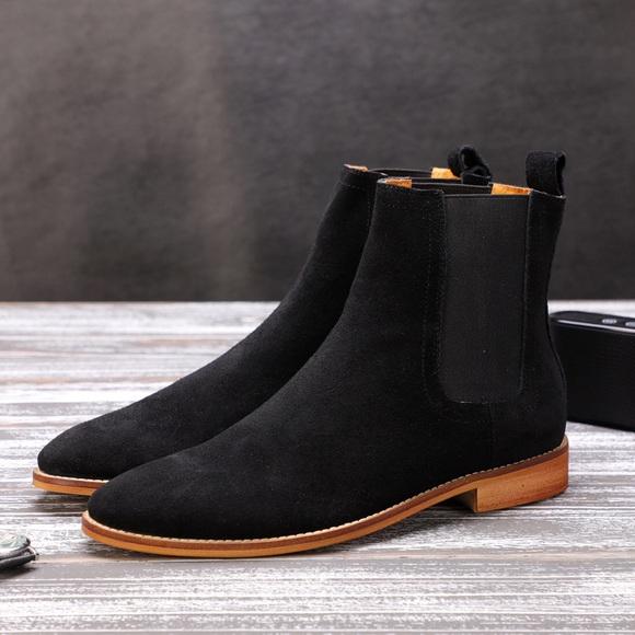 HKLA Shoes | Suede Black Chelsea Boots | Poshma