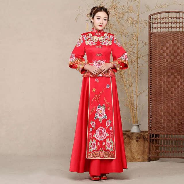 Bride Chinese Fashion Dress Kimono Dragon Phoenix Embroidery .