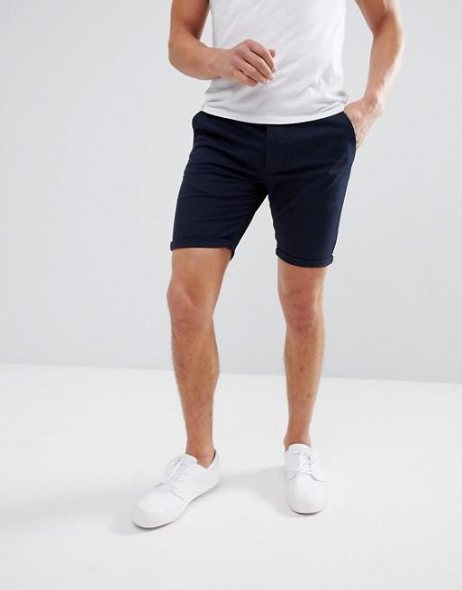 ASOS DESIGN skinny chino shorts in navy | AS