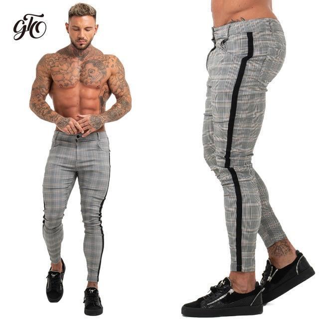 Mens Chinos Slim Fit Skinny Pants For Men Chino Trousers Plaid .