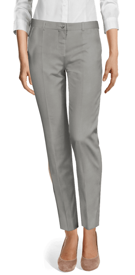 Grey stretch flat-front Cigarette Pants $89 | Sumissu