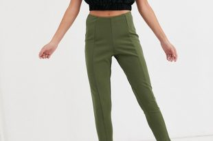 Missguided skinny fit cigarette pants in khaki | AS