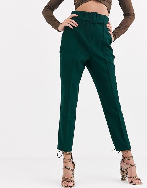 ASOS DESIGN high waist cigarette pants with belt | AS