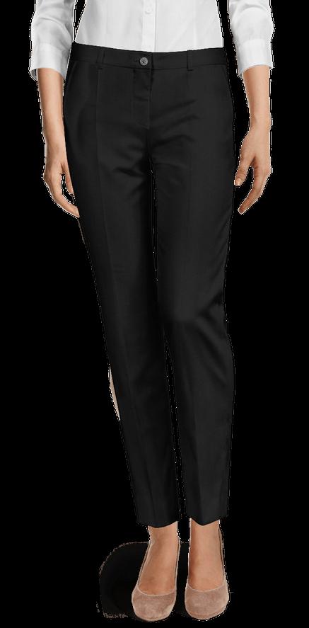 Black wool blend flat-front Cigarette Pants $89 | Sumissu