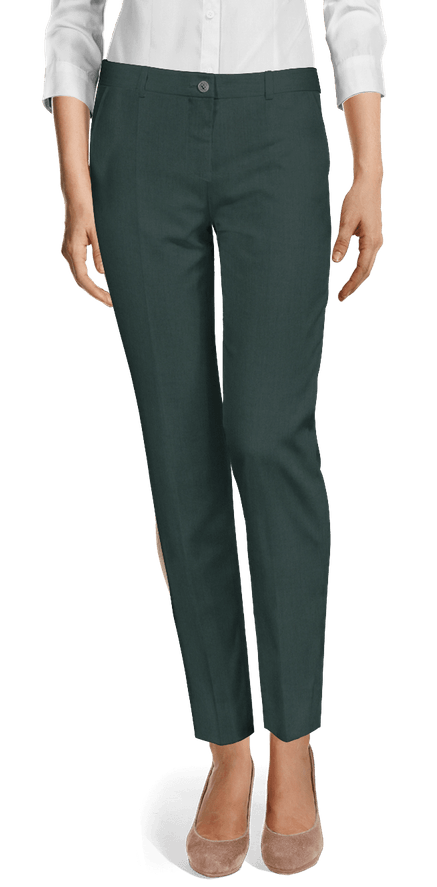 Green flat-front Cigarette Pants $89 | Sumissu