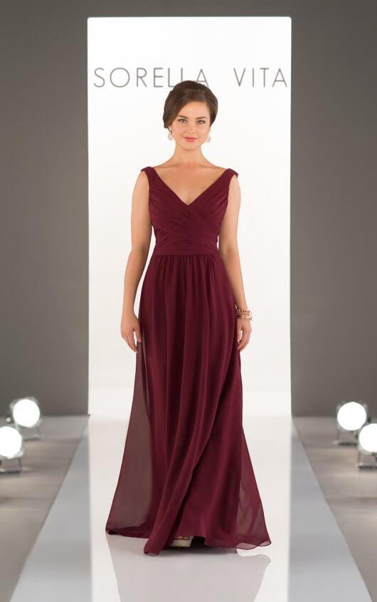 Bridesmaid Dresses | Classic Chiffon V-Neck Bridesmaid Dress .