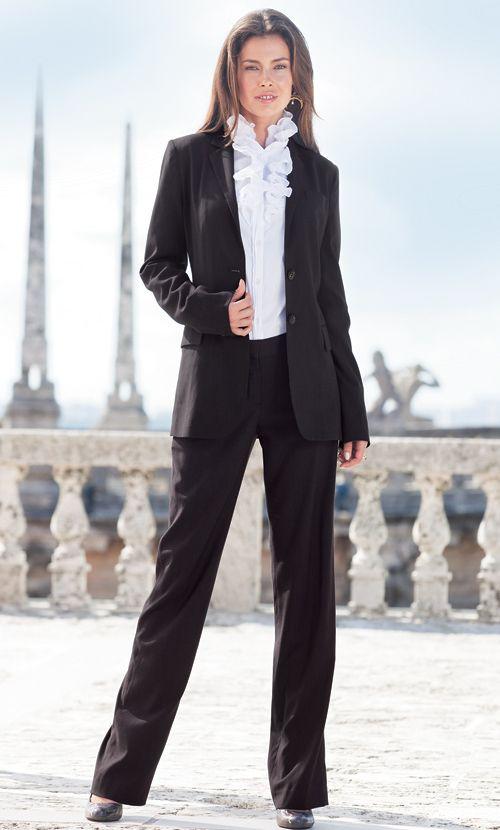 LEL Pinstripe Suit (Black Pinstripe) Tall Women's Clothes, Ladies .