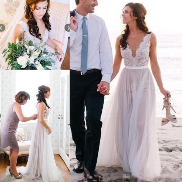 Elegant Beach Coast Wedding Dresses,Lace A Line Tulle Bridal .