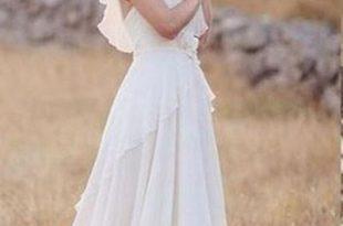 Summer A Line Chiffon Lace Backless Ivory Beach/Coast Wedding .