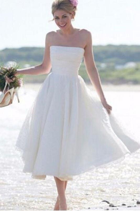 Simple Strapless A Line Tea Length Short Ivory Beach Wedding .