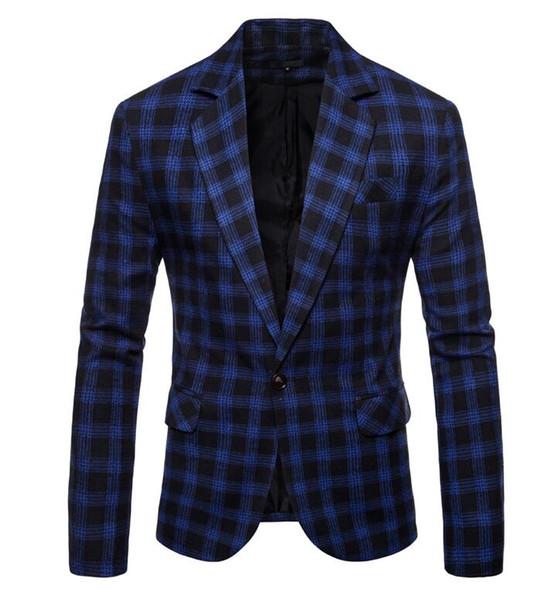 2020 Suits Men Blazer Casual Fashion Check Coat Masculino Slim .