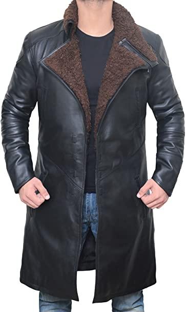 Blingsoul Black Trench Coat Men - Winter Shearling Leather Coat .