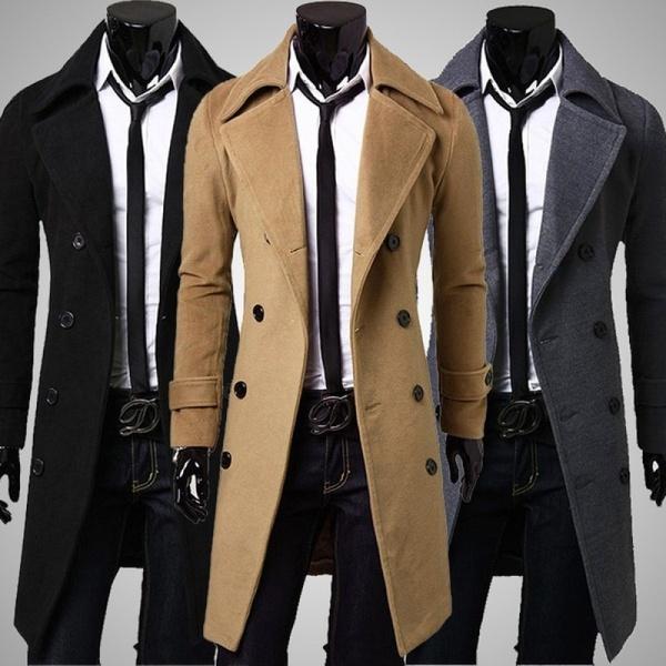 New Trench Coat Men 2017 Jacket Mens Overcoat Slim Fit Long Coat .