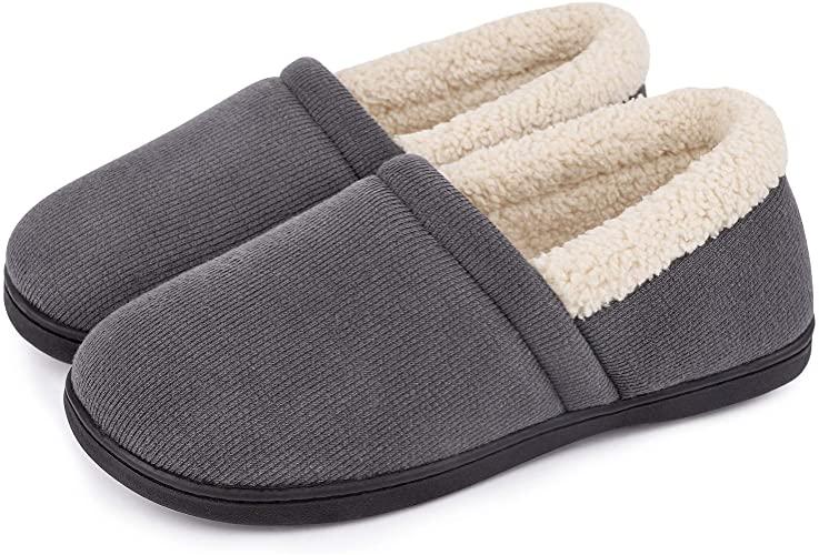 Amazon.com | Men's Comfy Fuzzy Knit Cotton Memory Foam House Shoes .
