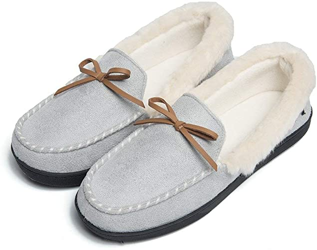 Amazon.com | FOOTTECH Womens Moccasins Slippers Faux Fur Lined .
