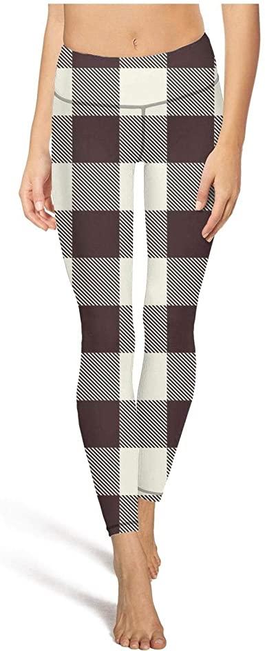 Cool Brown British Plaid Checkerboard Gym Tights Ladies Gym wear .