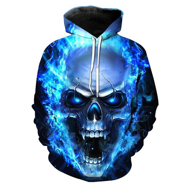 Fashion 3d Cool Skull or Wolf Print Men Women Tops Hoodies Shirts .